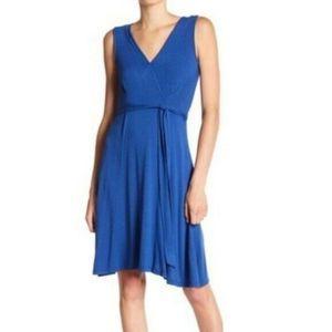 Bobeau Sleeveless Wrap Midi Dress Blue XS
